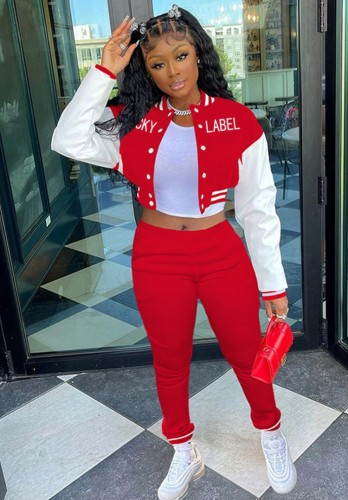 Winter Letter Print Red Button Up Tracksuit