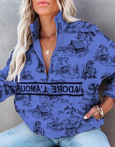 秋のプリントタートルネックジッパースウェットシャツ