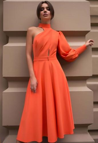 Herbstliches, orangefarbenes, langes Skaterkleid mit einem Ärmel