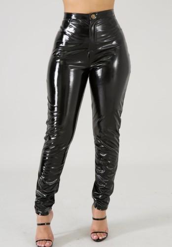 Kışlık Siyah Yüksek Bel Fit Deri Pantolon