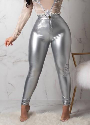 Kış Gri Yüksek Bel Fit Deri Pantolon