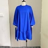 Herbst Casual Blau A-Linie Puffärmel Rundhals Kurzes Kleid