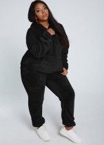 Winter Casual Black Plush Hoody Top und Pants 2PC Set