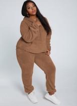 Winter Casual Brown Plush Hoody Top und Pants 2PC Set
