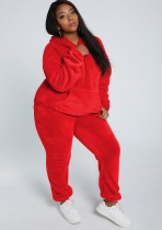 Winter Casual Red Plush Hoody Top und Pants 2PC Set