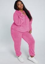 Winter Casual Pink Plush Hoody Top und Hose 2PC Set