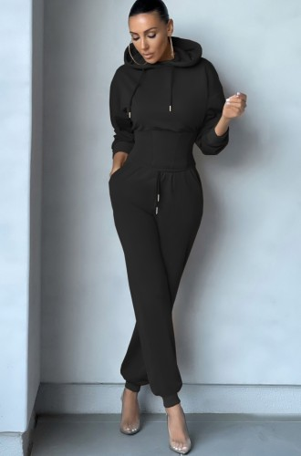 Camiseta preta com corpete e calça de moletom 2PC com capuz para esportes de inverno