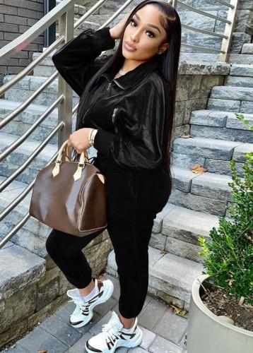 Jaqueta preta com zíper de inverno e calça de moletom 2PC Velvet agasalho