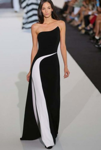 Autumn Occassional White and Black Strapless Long Gown