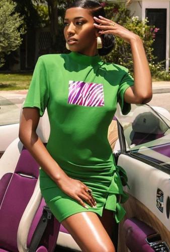 Mini vestido com estampa de verão verde gola redonda