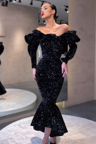 Winter Occassional Black Sequined Off Shoulder Mermaid Long Gown