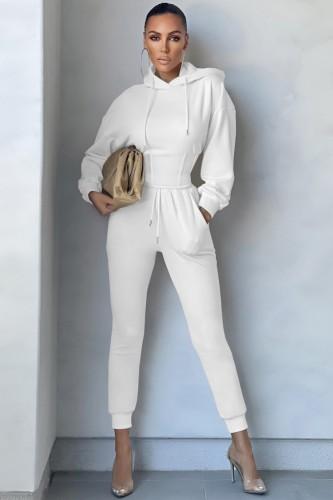 Roupa de treino com capuz para esportes de inverno branco corpete e calça de moletom 2PC