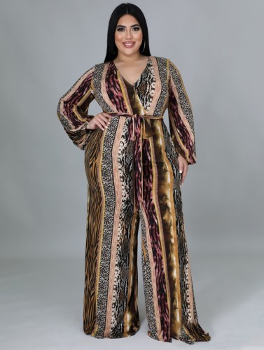 Autunno Plus Size Tuta formale con scollo a V con stampa leopardata e cintura