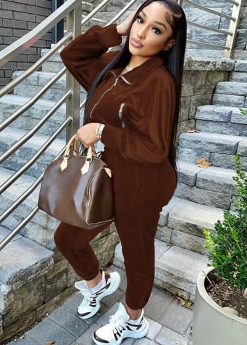 Jaqueta de inverno marrom com zíper e calça de moletom 2PC Velvet agasalho