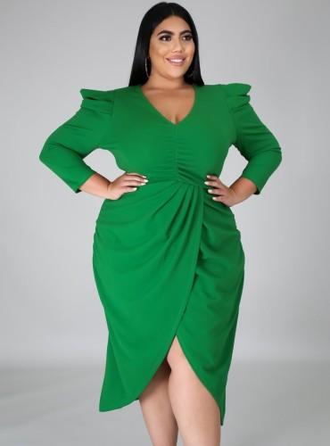 秋のプラスサイズグリーンVネックラップ裾不規則なパーティードレス