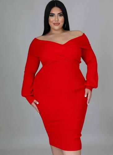 Vestido longo bodycon longo de inverno plus size vermelho Sweetheart