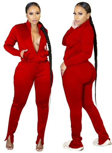 Autumn Casual Red Zipper Top and Slit Pants 2PC Tracksuit