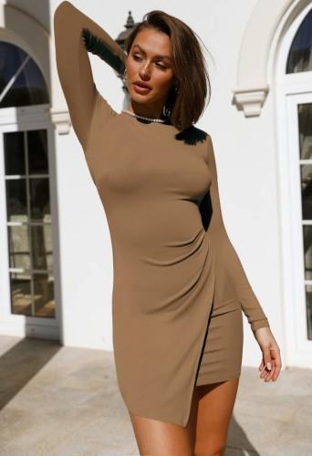 秋のカジュアルカーキ長袖不規則なミニドレス
