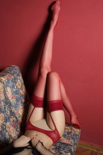 Midnight Erotic Lingerie Rote Netzstrumpfhose
