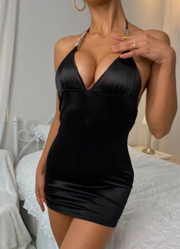 Sexy schwarze Satin-Träger Minikleid Dessous