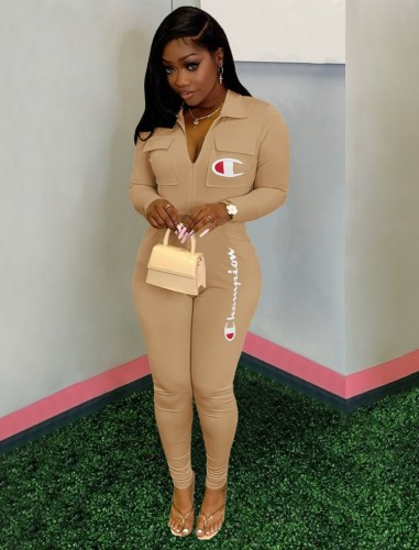 Herbst Casual Letter Print Khaki Fit Langarm Overall