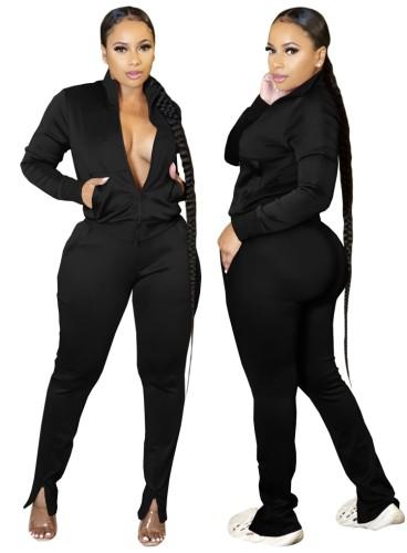 Autumn Casual Black Zipper Top and Slit Pants 2PC Tracksuit