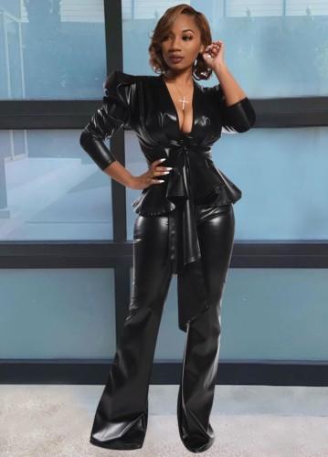 Conjunto de 2 piezas de pantalón y top de cuero negro formal de invierno a juego