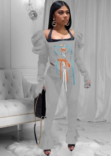 Conjunto de pantalón de campana y top corto con cordones gris sexy de fiesta de otoño