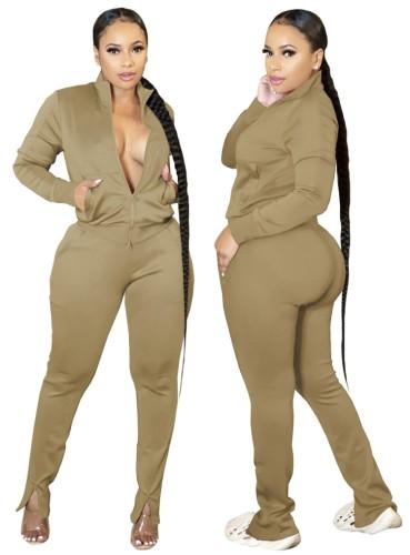 Autumn Casual Khaki Zipper Top and Slit Pants 2PC Tracksuit
