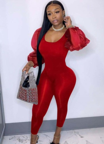 Winter Party Roter Puffärmel Sexy Bodycon Jumpsuit