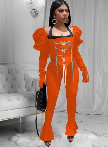 Conjunto de pantalones de campana y top corto con cordones naranja sexy de fiesta de otoño