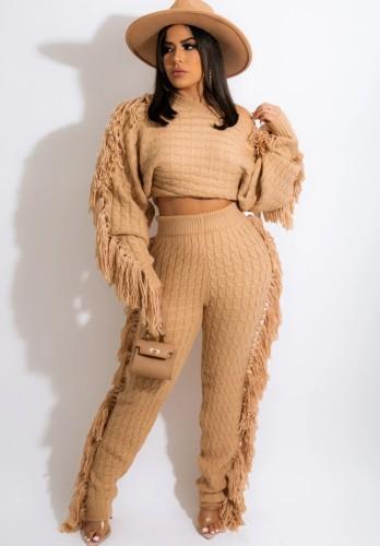 Winter Casual Khaki Quasten Pullover Crop Top und Hose 2PC Strickset