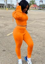 Herbst Sport Orange Enges Kapuzen-Crop-Top und Hosen-Set