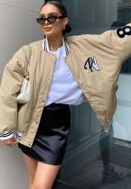 Kışlık Harf Baskı Haki Uzun Beyzbol Ceketi