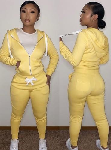 Wintersport Gelb Fleece Hoodies 2PC Trainingsanzug mit Taschen