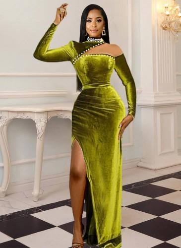 Winter formales Samtgrünes langes Abendkleid mit Cut-Outs und Perlen