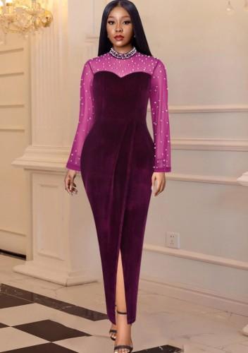 Winter Formal Velvet Lila Mesh Patch Perlen Langes Abendkleid