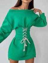 Sonbahar Günlük Bağcıklı Yeşil Sweatshirt Elbise