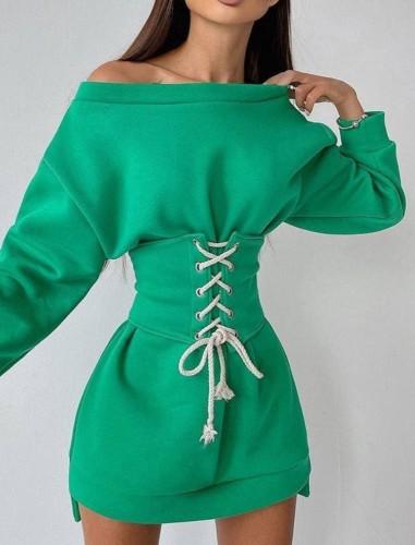 秋のカジュアルレースアップグリーンのスウェットシャツドレス