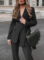 Sonbahar Profesyonel Siyah Ofis Blazer ve Pantolon Takım Elbise, Eşleşen Kemerli