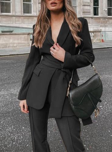 秋のプロのブラックオフィスブレザーとパンツスーツ、お揃いのベルト付き
