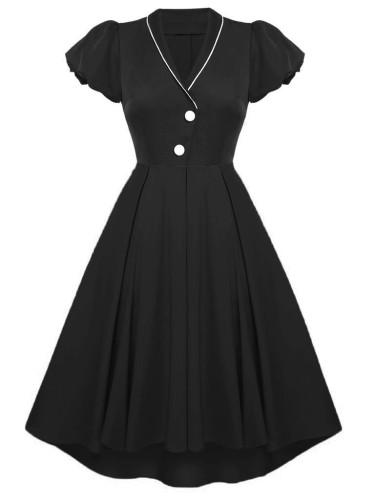 Herbst formales schwarzes V-Ausschnitt Kurzarm Vintage Ballkleid