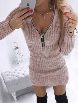 Kışlık Günlük Pembe Triko Fermuarlı Uzun Kollu Mini Elbise