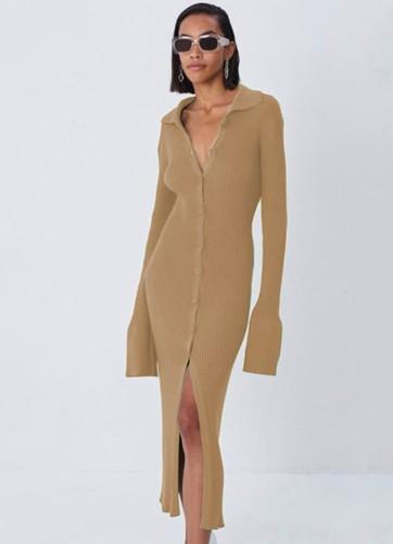 Kışlık Günlük Haki Örgü Düğmeli Uzun Elbise