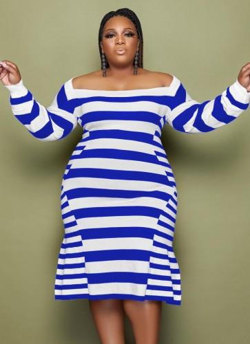 Vestido de fiesta de sirena azul a rayas de invierno de talla grande