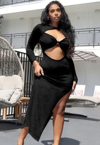 Sonbahar Siyah Seksi Düzensiz Uzun Parti Elbise Kesip