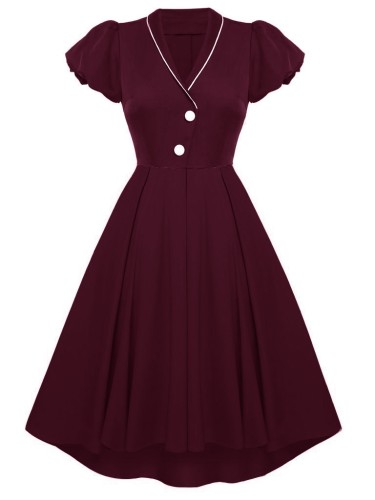 Herbst Formal Burgunry V-Ausschnitt Kurzarm Vintage Ballkleid