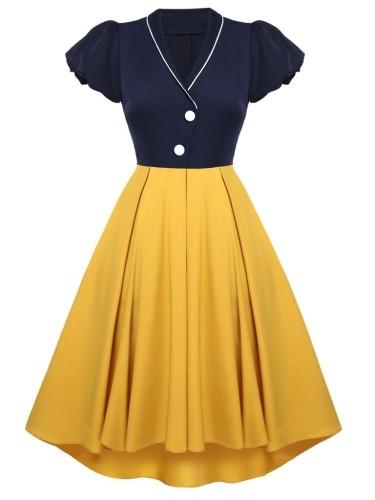 Herbst formales blaues und gelbes V-Ausschnitt Kurzarm Vintage Ballkleid