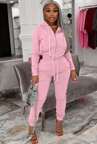 Tuta sportiva con cappuccio e zip rosa casual autunnale