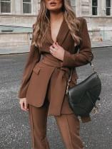 Sonbahar Profesyonel Kahverengi Ofis Blazer ve Pantolon Takım Elbise Eşleşen Kemerli